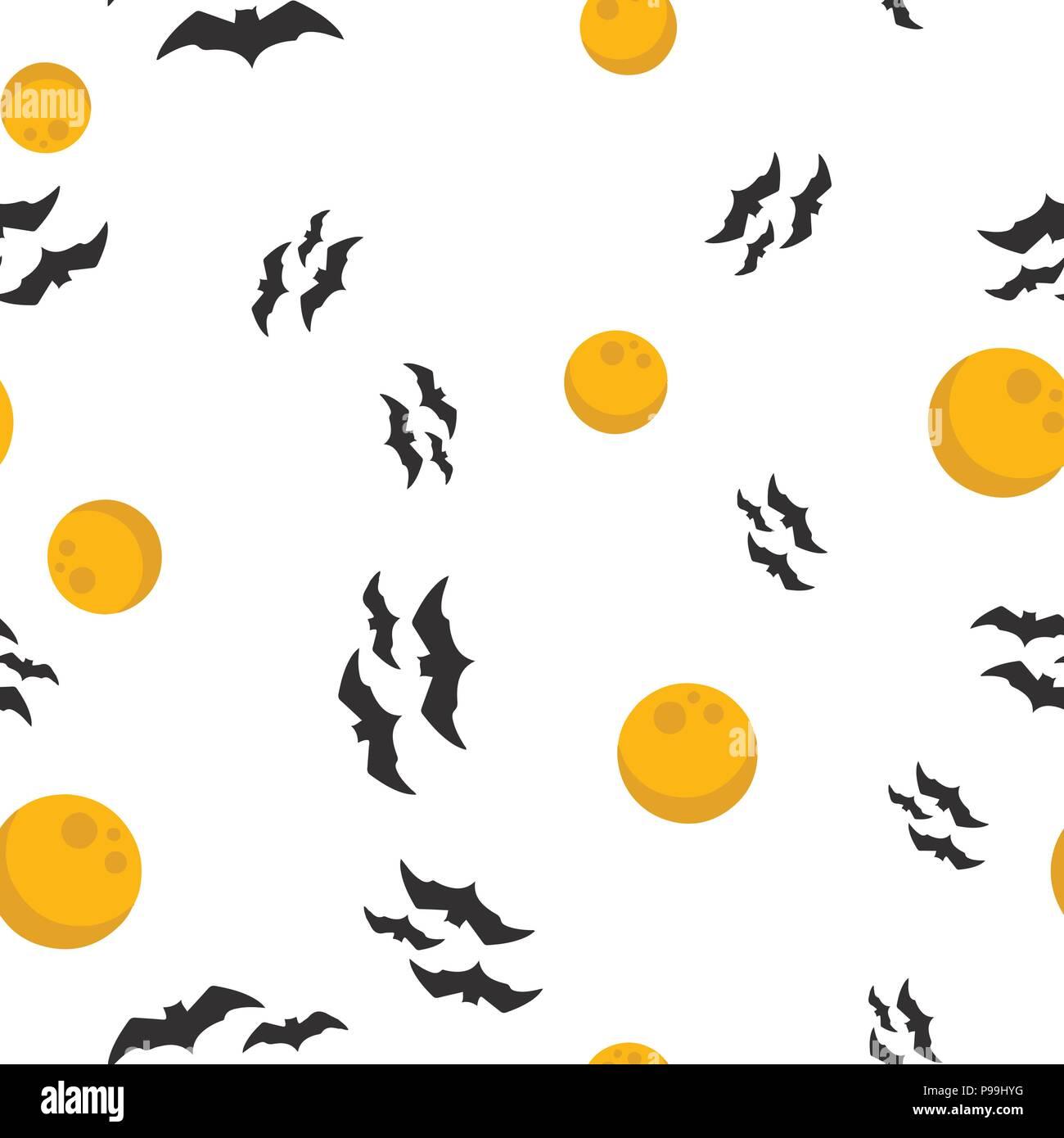 Full moon, bat Halloween pattern seamless. Vector illustration. Isolated white background. All Saints Eve. - Stock Image