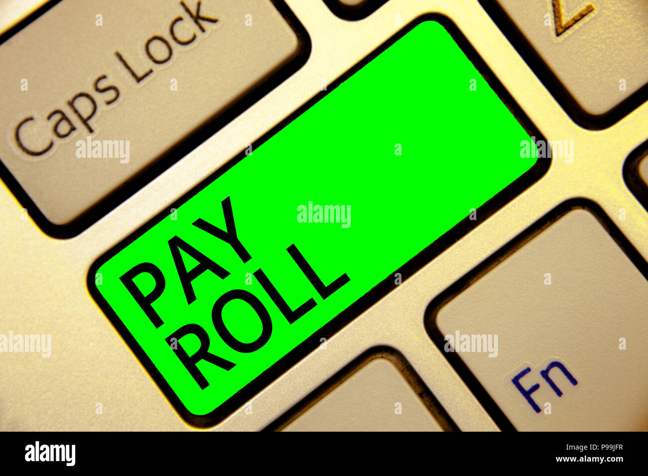 Word writing text Pay Roll. Business concept for Amount of wages and salaries paid by a company to its employees Keyboard red key Intention create com - Stock Image