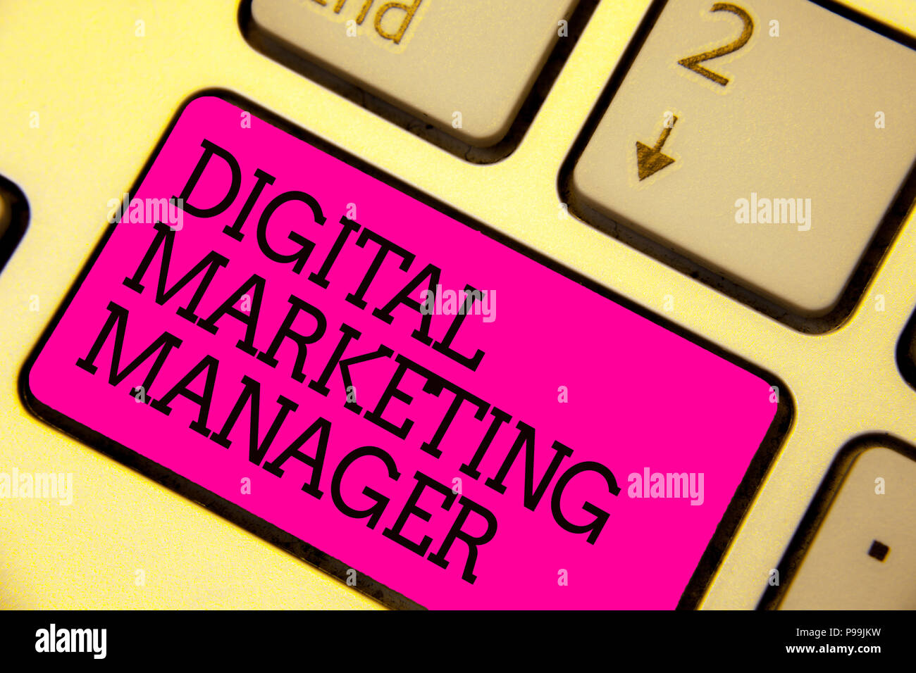 Word writing text Digital Marketing Manager. Business concept for optimized for posting in online boards or careers Keyboard pink key Intention create - Stock Image