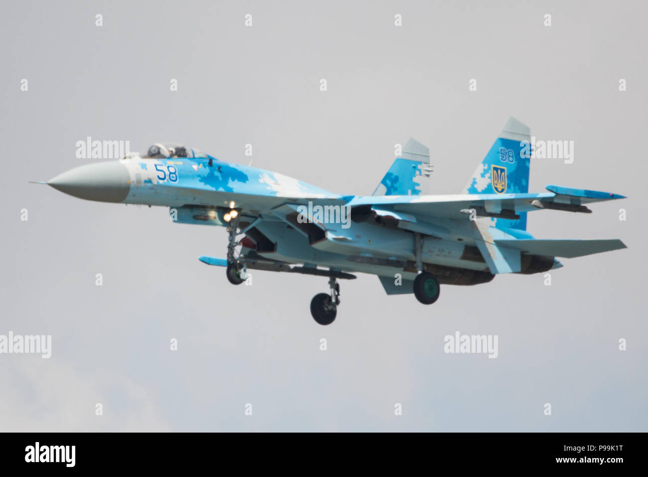 Sukhoi su-27P Flanker of the Ukranian Air Force at The Royal International Air Tattoo at RAF Fairford, England. - Stock Image