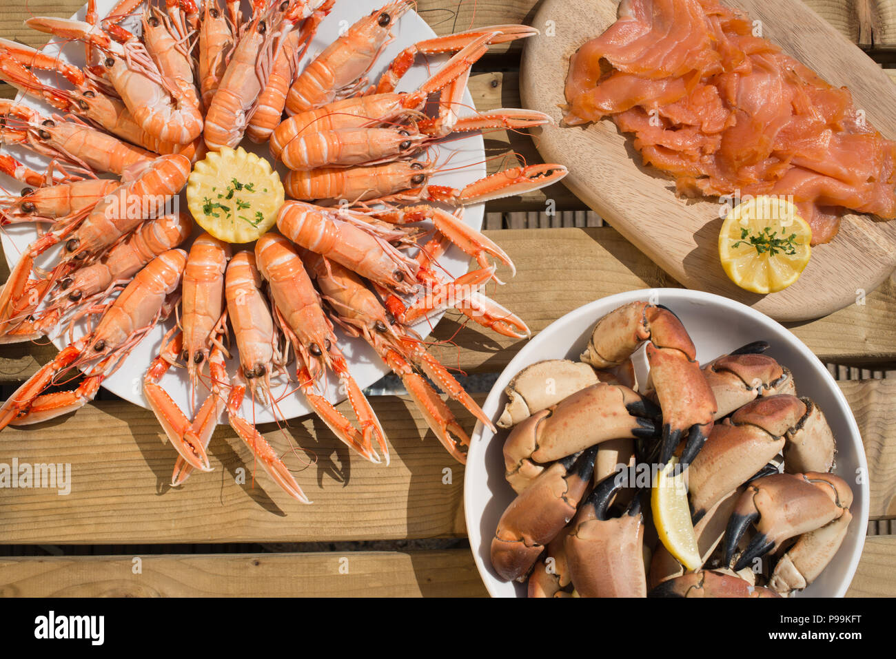 Wonderful spread of Scottish seafood - Stock Image
