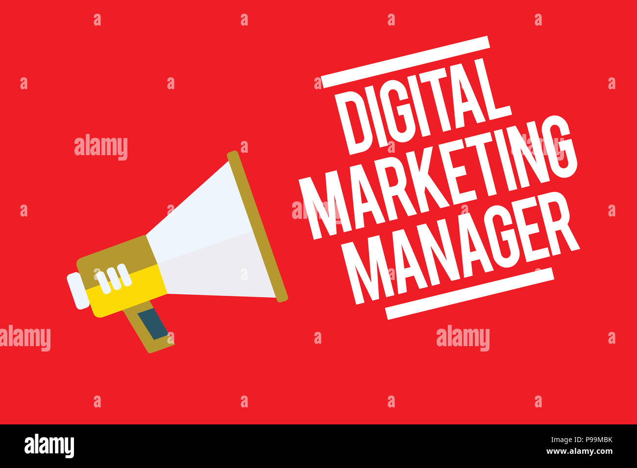 Handwriting text Digital Marketing Manager. Concept meaning optimized for posting in online boards or careers Megaphone loudspeaker red background imp - Stock Image