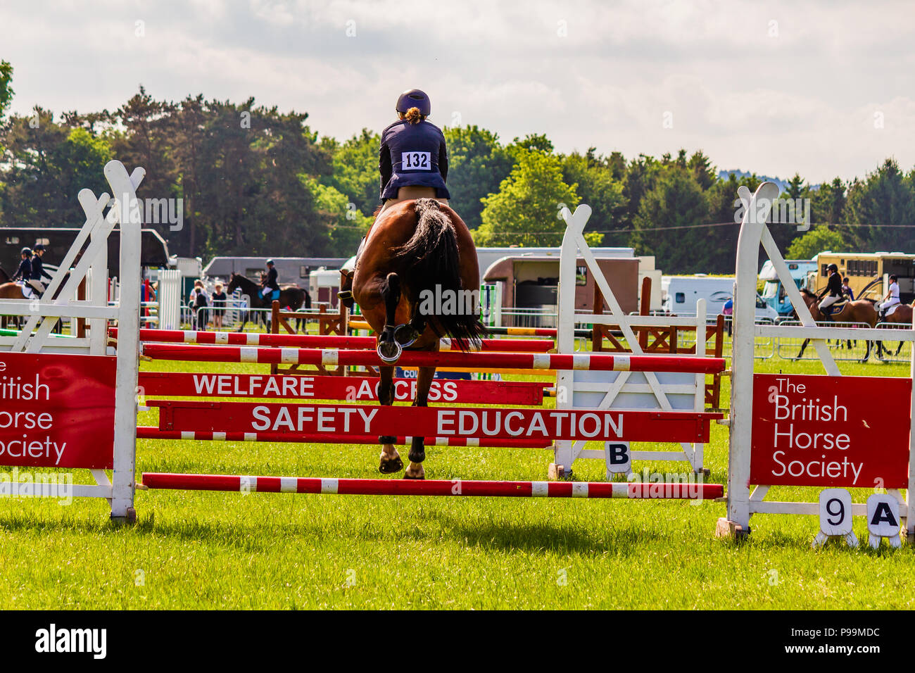 Show jump with British Horse Society banner at Northumberland County Show, 2018. - Stock Image