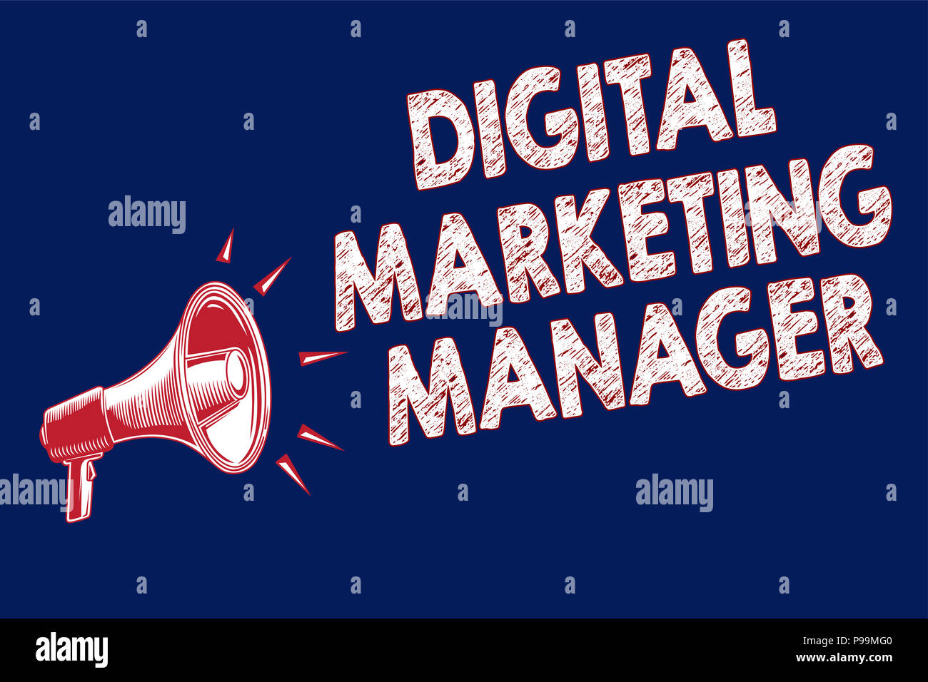 Word writing text Digital Marketing Manager. Business concept for optimized for posting in online boards or careers Megaphone loudspeaker blue backgro - Stock Image