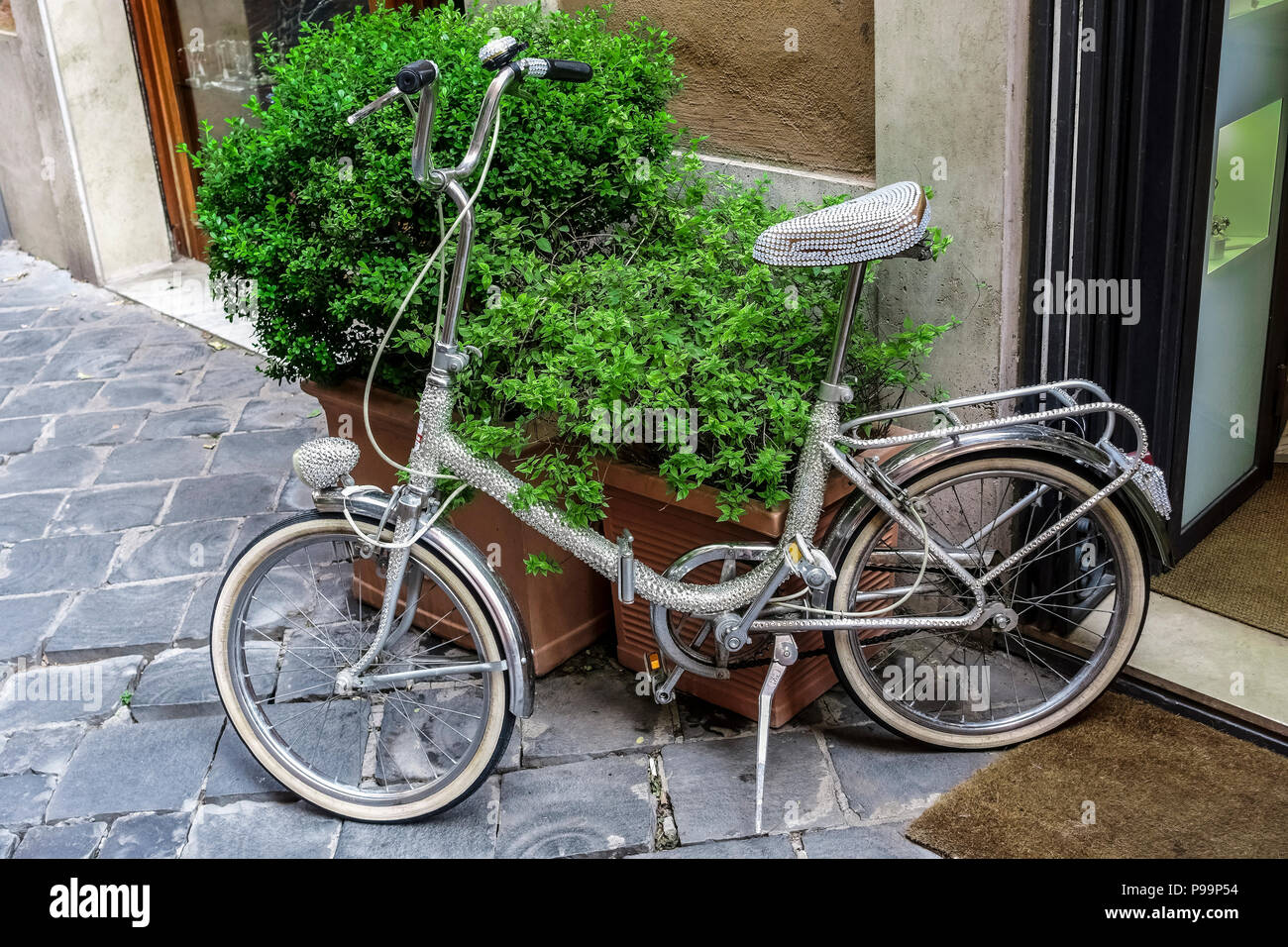 3f8aaa59848 Rhinestone bike parked in front of a shop. Alternative ecological tran  sport. Green concept