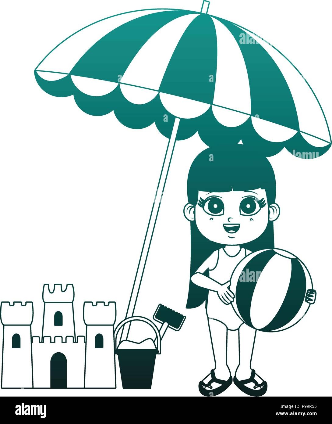 Girl Holding Beach Ball And Sand Castle With Umbrella Vector