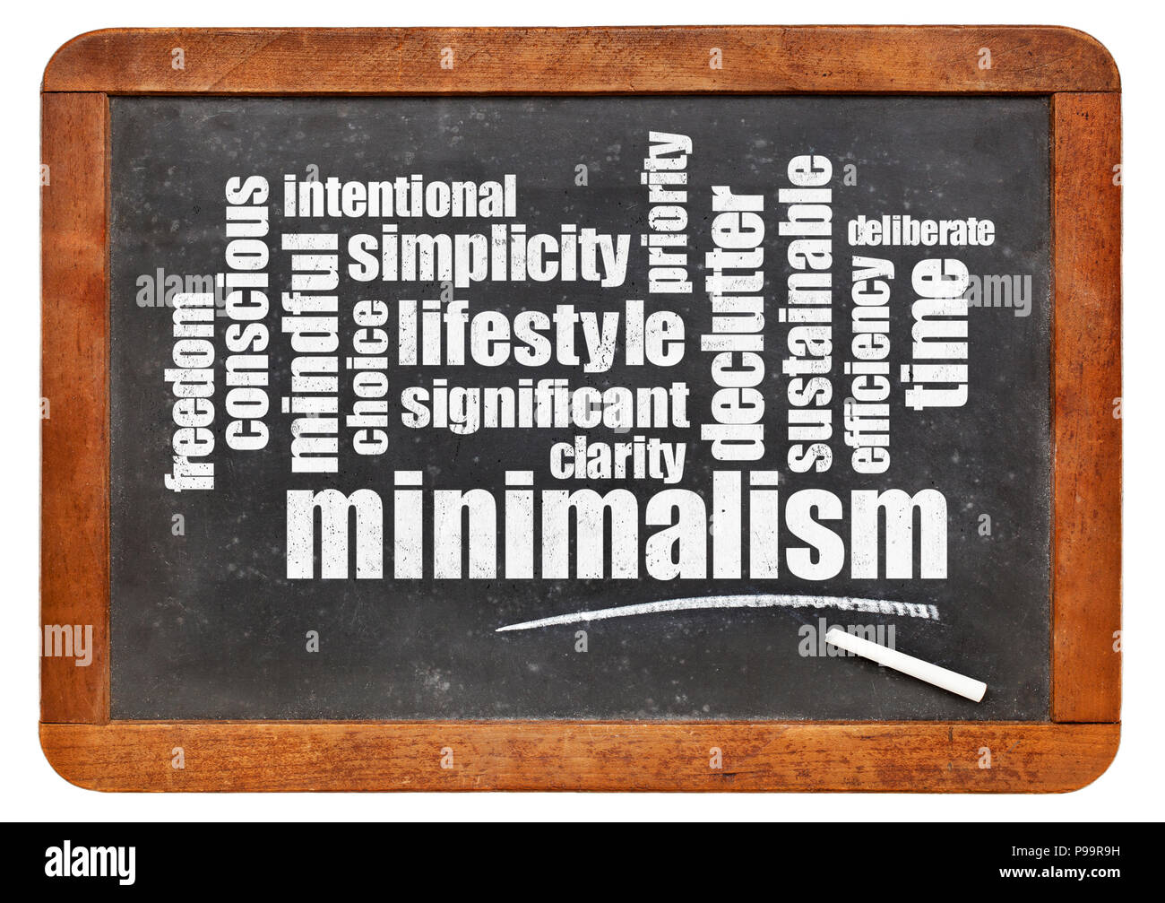 cloud of words associated to minimalism as a lifestyle - white chalk text on a slate blackboard - Stock Image