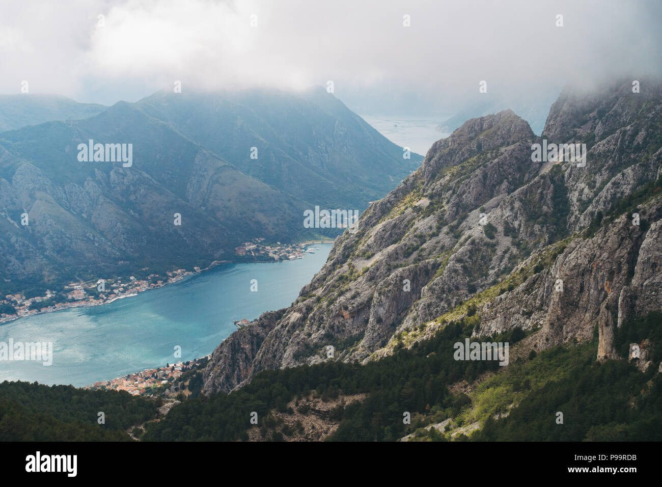 the view of the inlet from the road down into Kotor, Montenegro Stock Photo