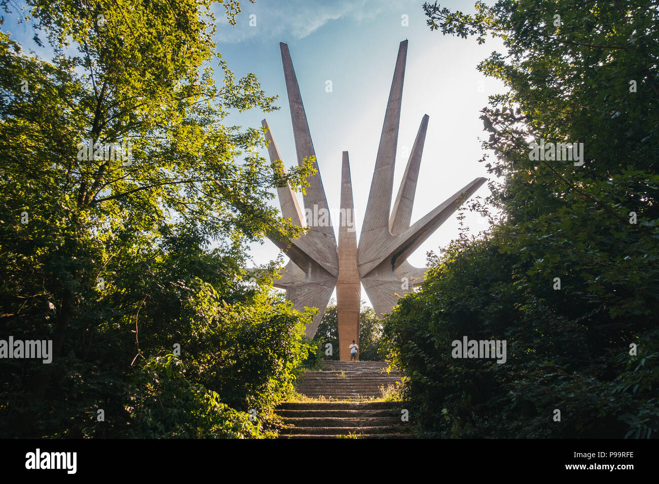 The towering Monument to the Fallen Soldiers of the Kosmaj Detachment, tucked amidst some trees off the roadside in Serbia Stock Photo
