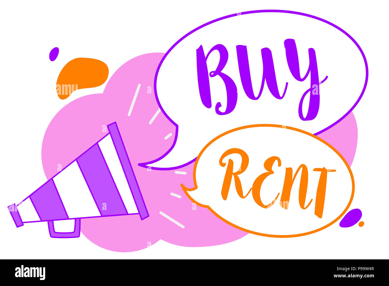 Text sign showing Buy Rent. Conceptual photo choosing between purchasing something or paying for usage Megaphone loudspeaker speech bubbles important  - Stock Image
