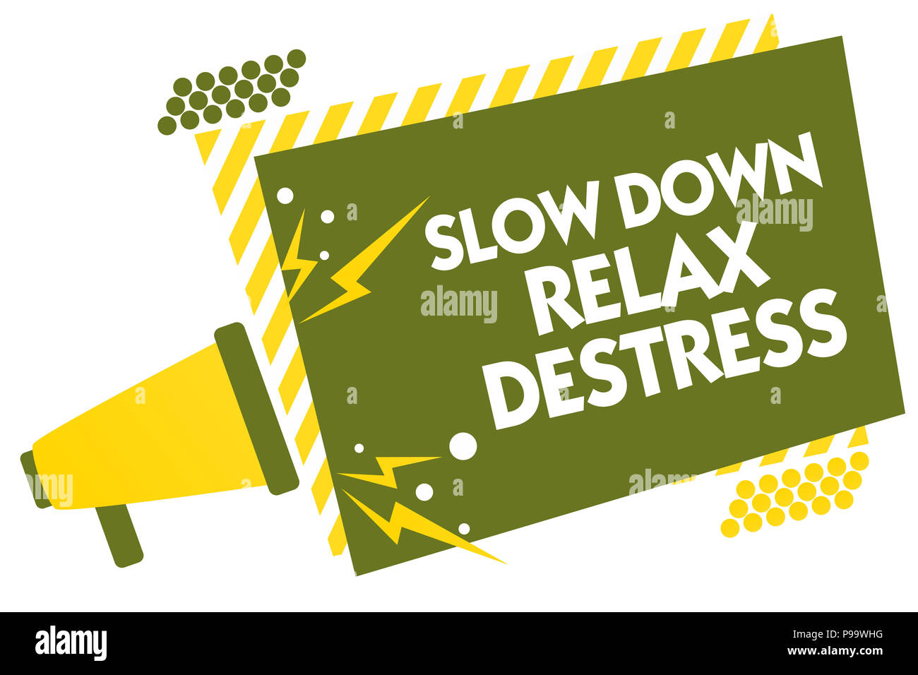 Writing note showing Slow Down Relax Destress. Business photo showcasing calming bring happiness and put you in good mood Megaphone loudspeaker yellow Stock Photo