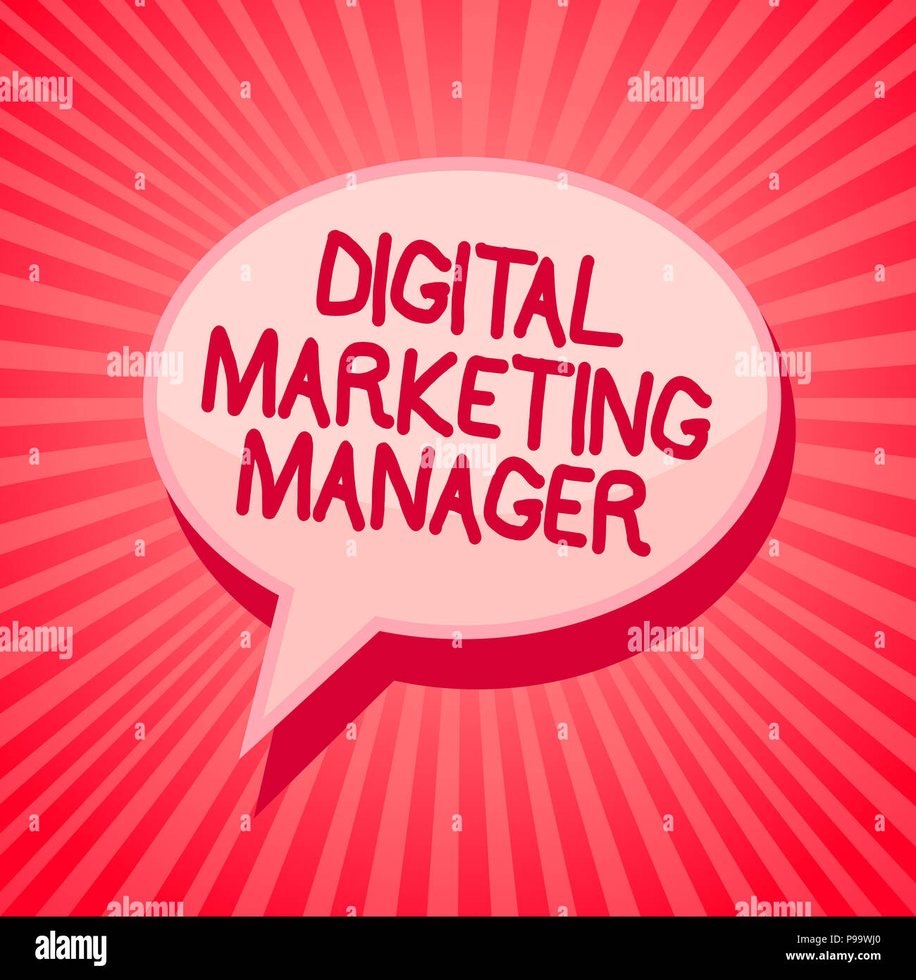 Handwriting text writing Digital Marketing Manager. Concept meaning optimized for posting in online boards or careers Pink speech bubble message remin - Stock Image
