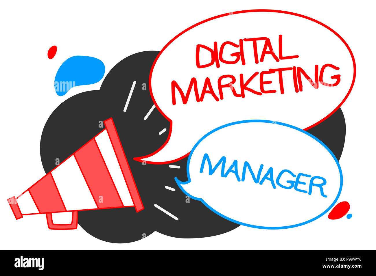 Text sign showing Digital Marketing Manager. Conceptual photo optimized for posting in online boards or careers Megaphone loudspeaker speech bubbles i - Stock Image