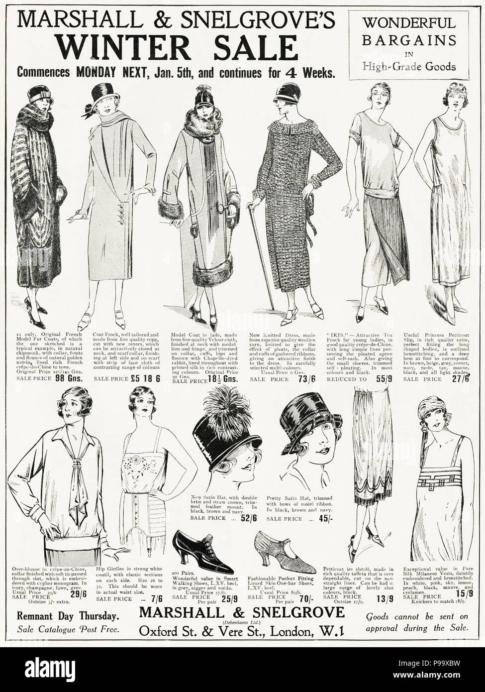 3655b832bb2 1920s old vintage original advert advertising winter sale of women s  fashion clothing by Marshall   Snelgrove