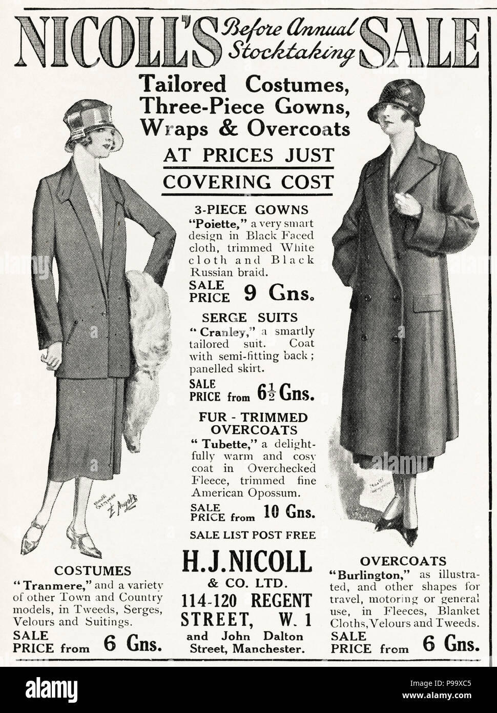 7c69045459f 1920s old vintage original advert advertising HJ Nicoll before annual  stocktaking sale of women s clothing in