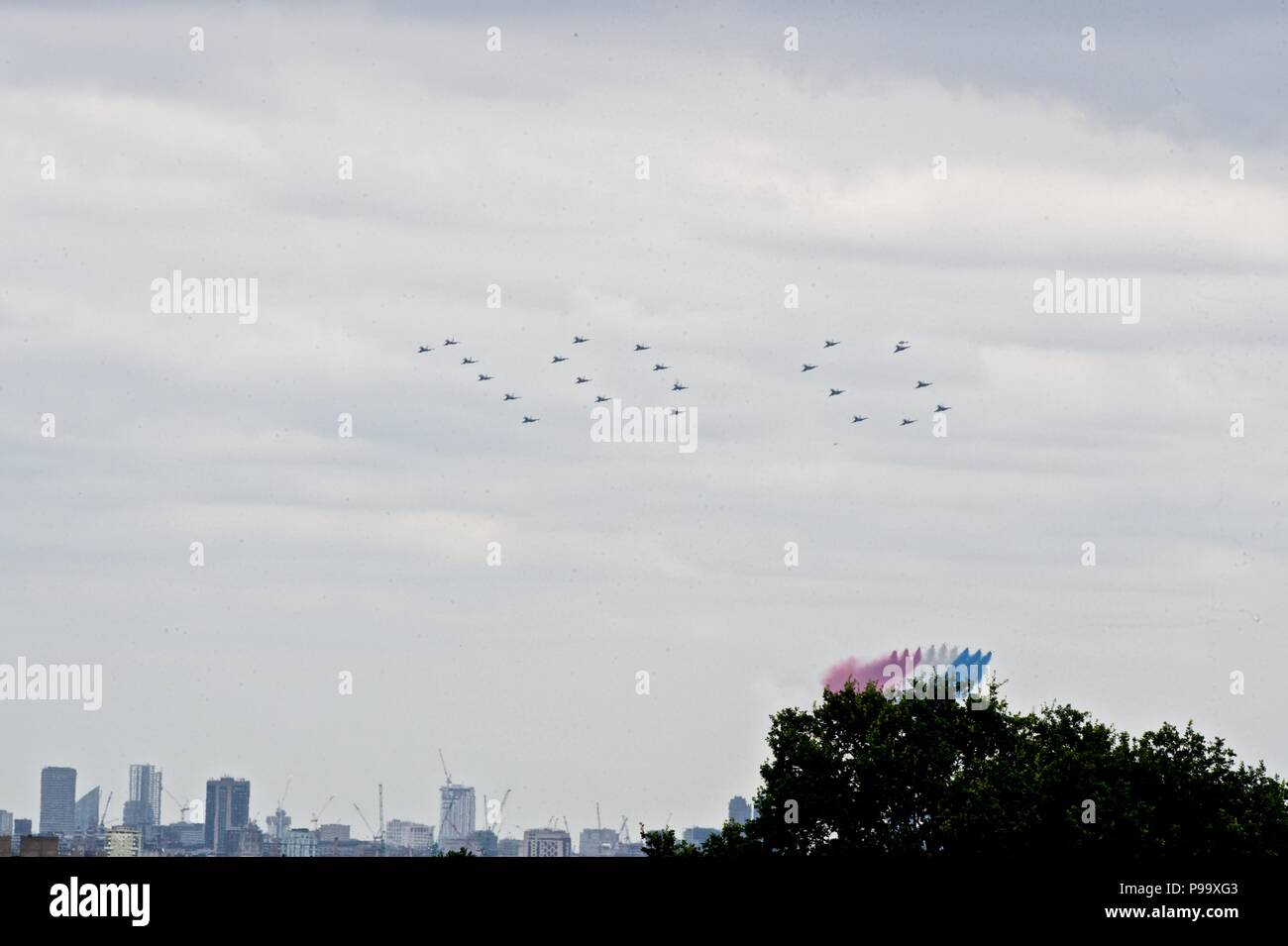 Royal Air Force 100 year anniversary fly past - Stock Image