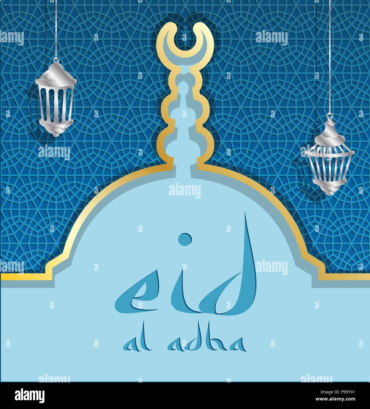 Eid Al Adha Greeting Card With A Blue Mosque Dome And Lanterns All