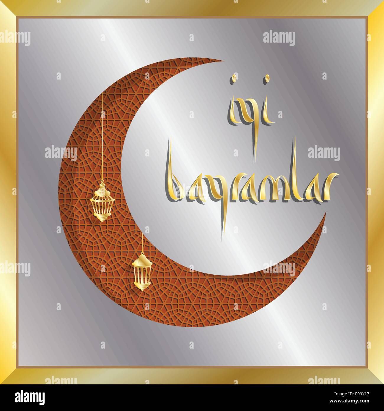Turkish Eid Greeting Card With Crescent Moon For Muslim Holiday All