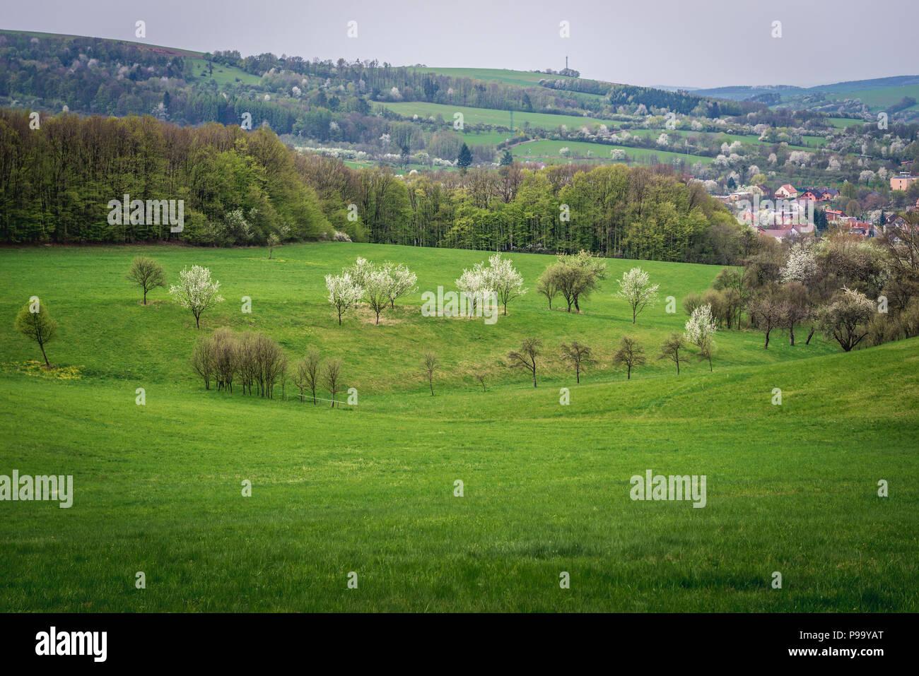 Landscape in Breznice village near Zlin City in Czech Republic - Stock Image