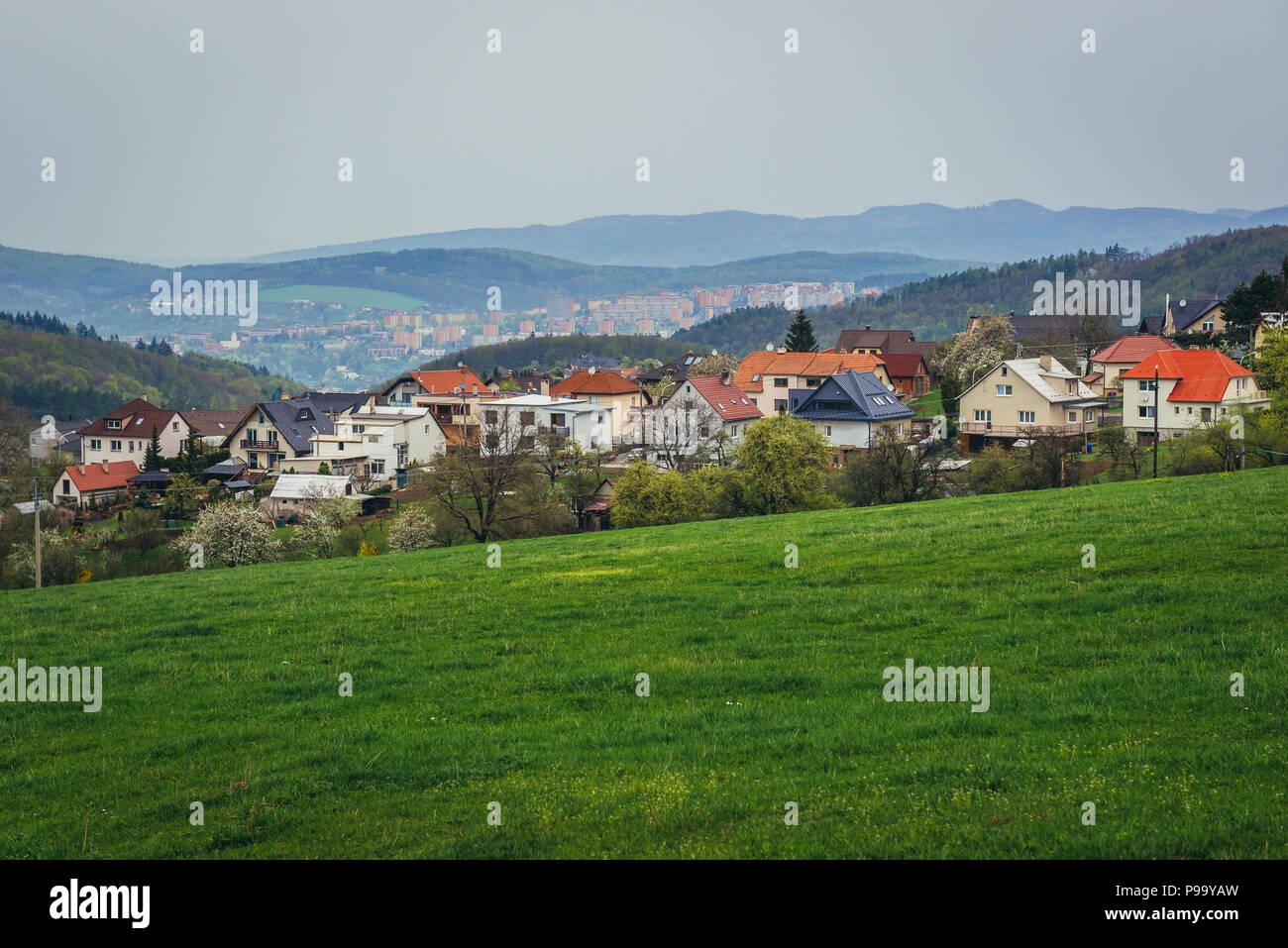 Houses in Kudlov district of Zlin city in Czech Republic - Stock Image
