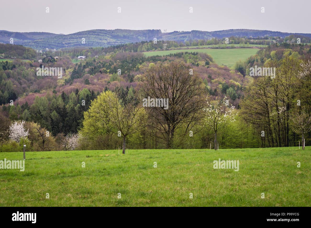 Landscape around Jaroslavice district of Zlin city in Czech Republic - Stock Image