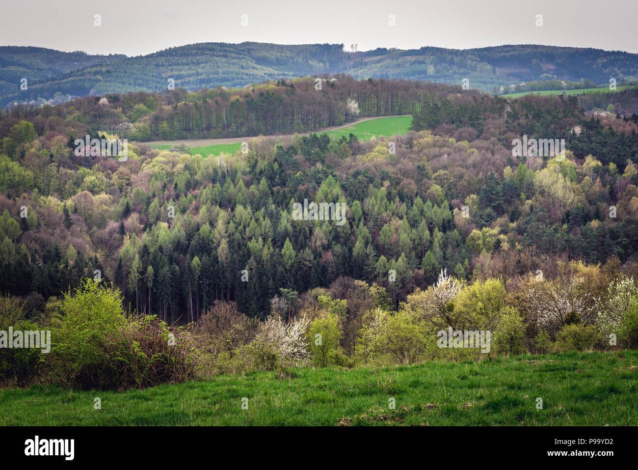 Landscape between Zlin city and Zelechovice nad Deevnici village, Moravia in Czech Republic - Stock Image