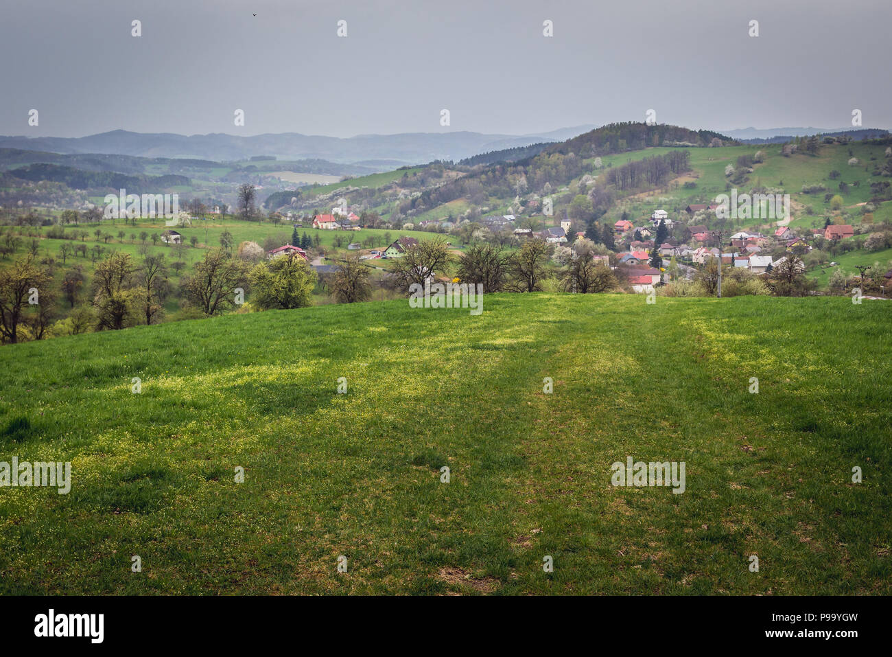 Jasenna village in Zlin Region, Moravia in Czech Republic - Stock Image