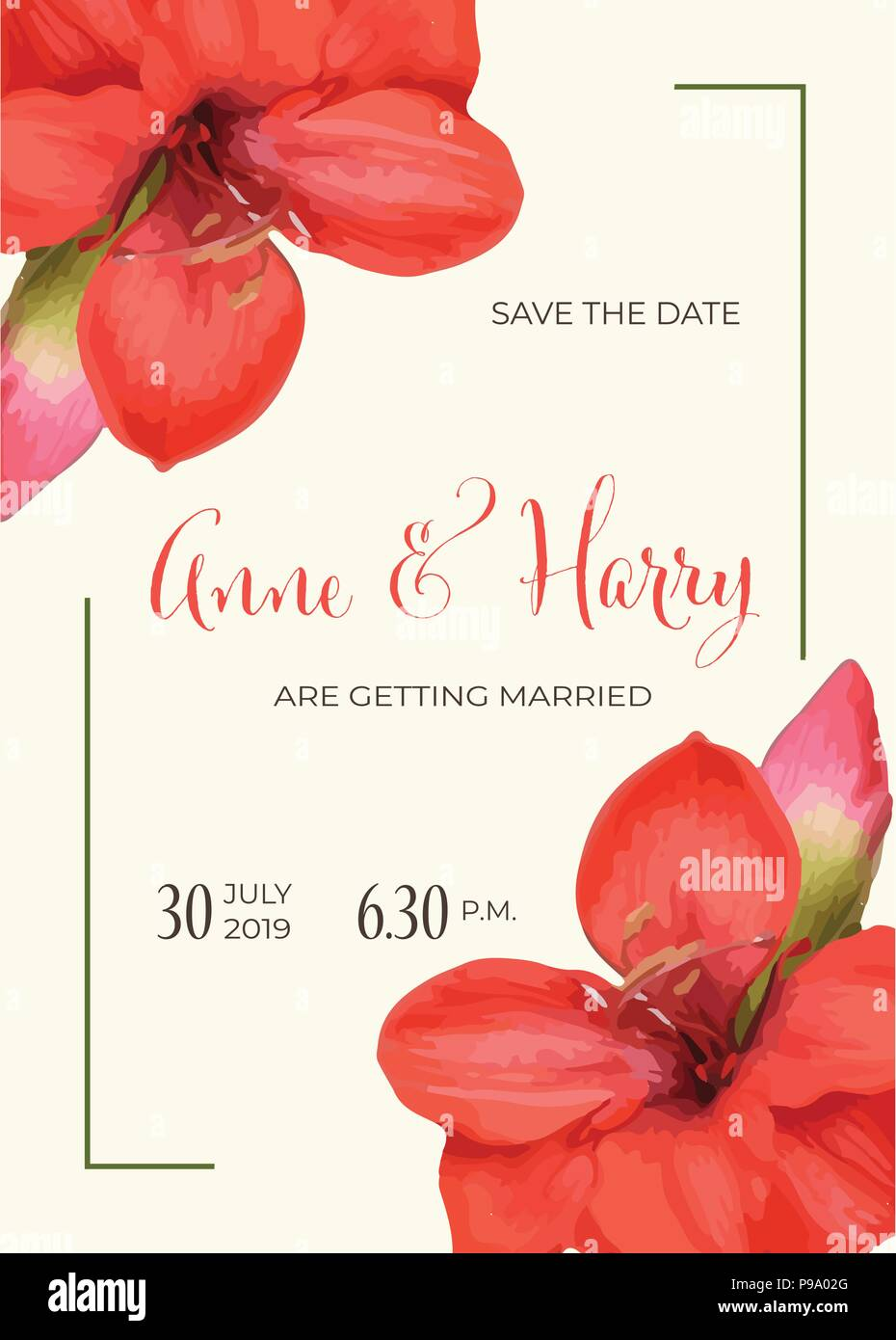 Beautiful floral wedding invitation in watercolor style, vector ...