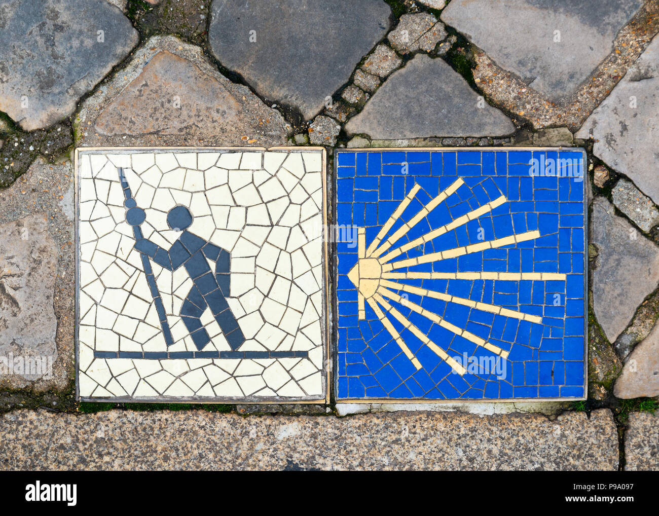 Camino de Santiago pilgrimage sign in Chartres, France. - Stock Image