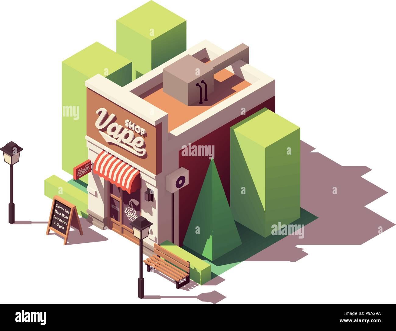 Vector isometric vape shop - Stock Image