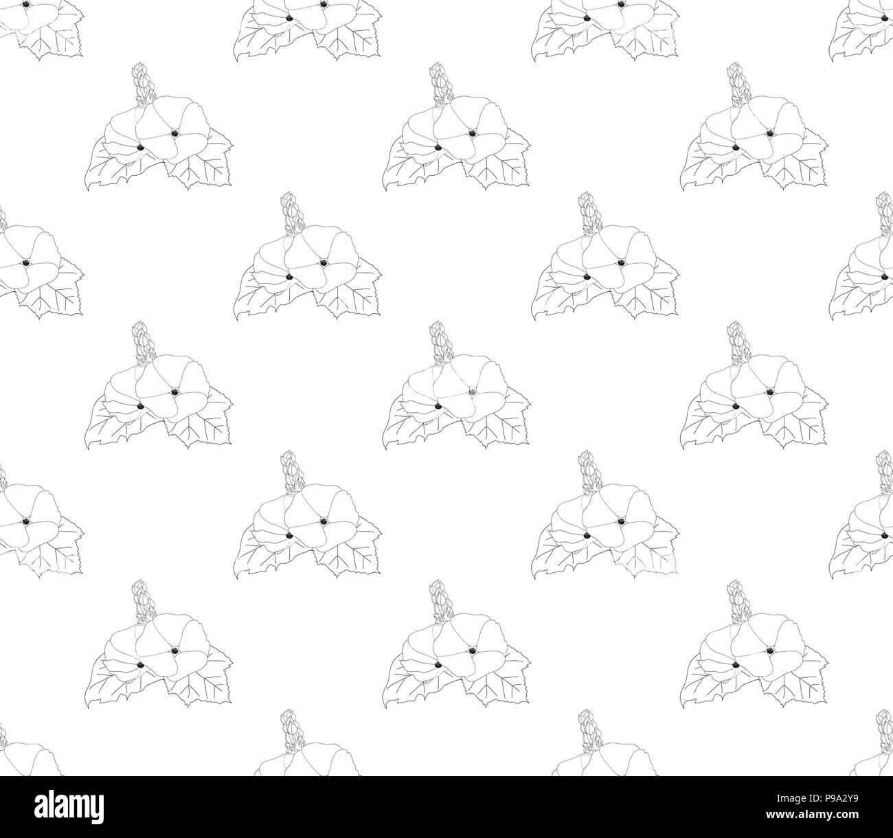 Hollyhock Seamless on White Background. Vector Illustration. - Stock Image