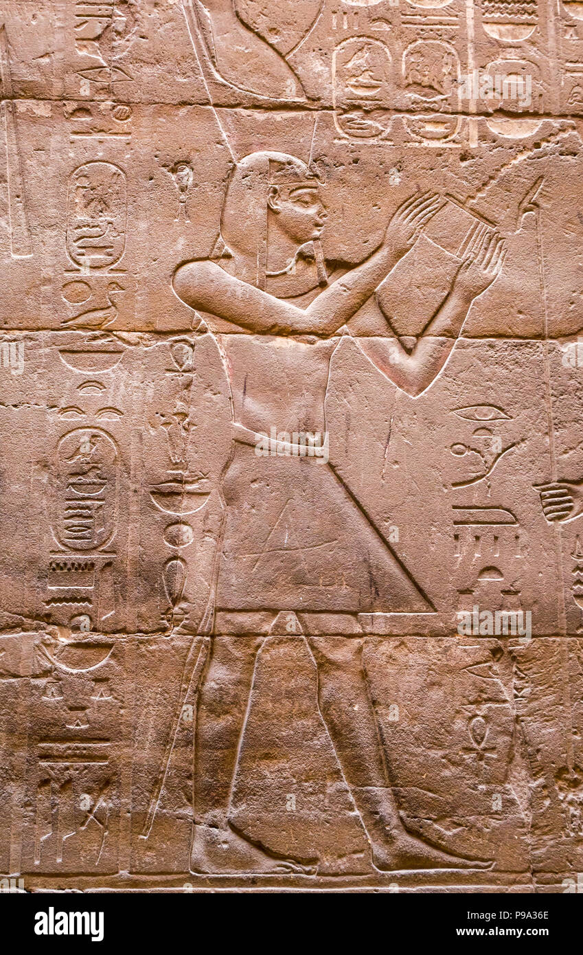 Close up detail of Ancient Egyptian carved figure hieroglyph, Luxor Temple, Luxor, Egypt, Africa - Stock Image