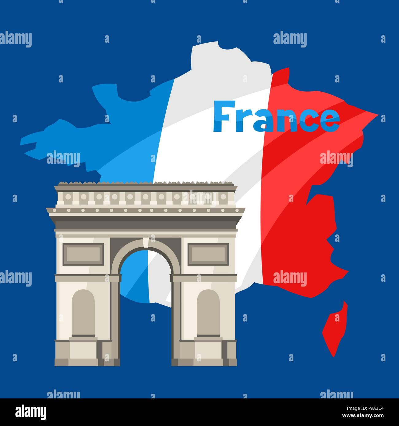 Triumphal Arch on map of France. - Stock Vector