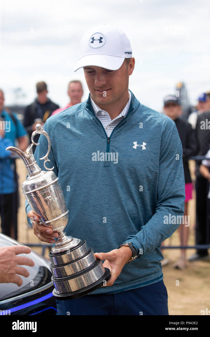 Jordan Spieth with the Claret Jug on the first tee during preview ...