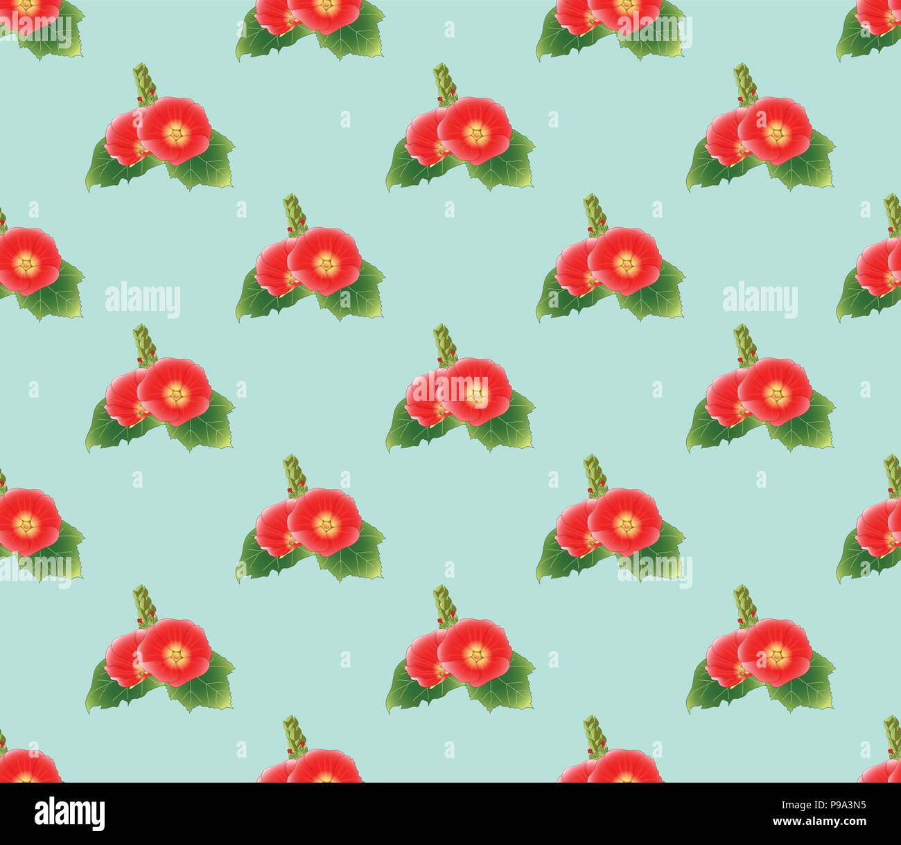 Red Hollyhock on Green Mint Background. Vector Illustration. - Stock Image