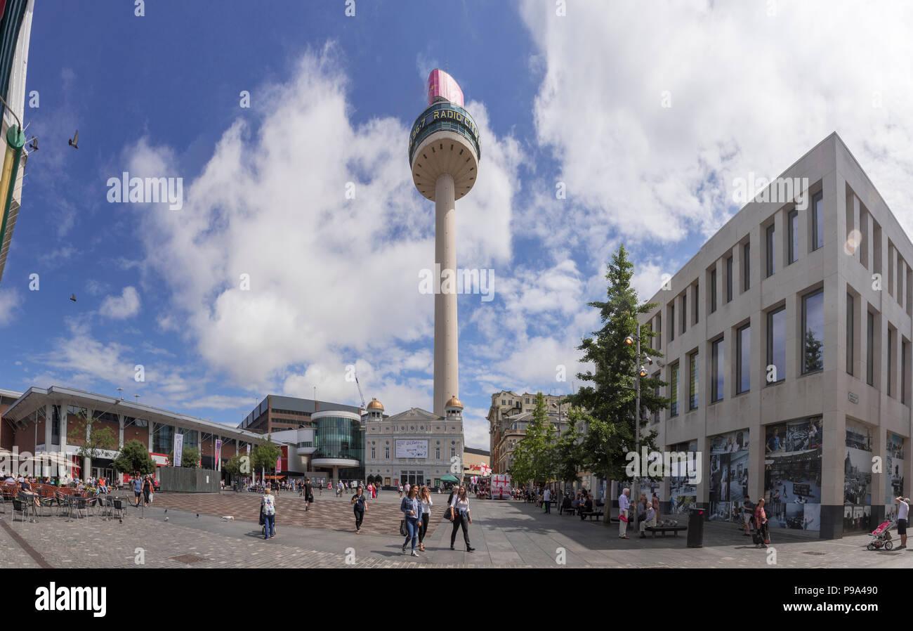 Williamson Square Liverpool. St Johns beacon tower. Radio City HQ - Stock Image