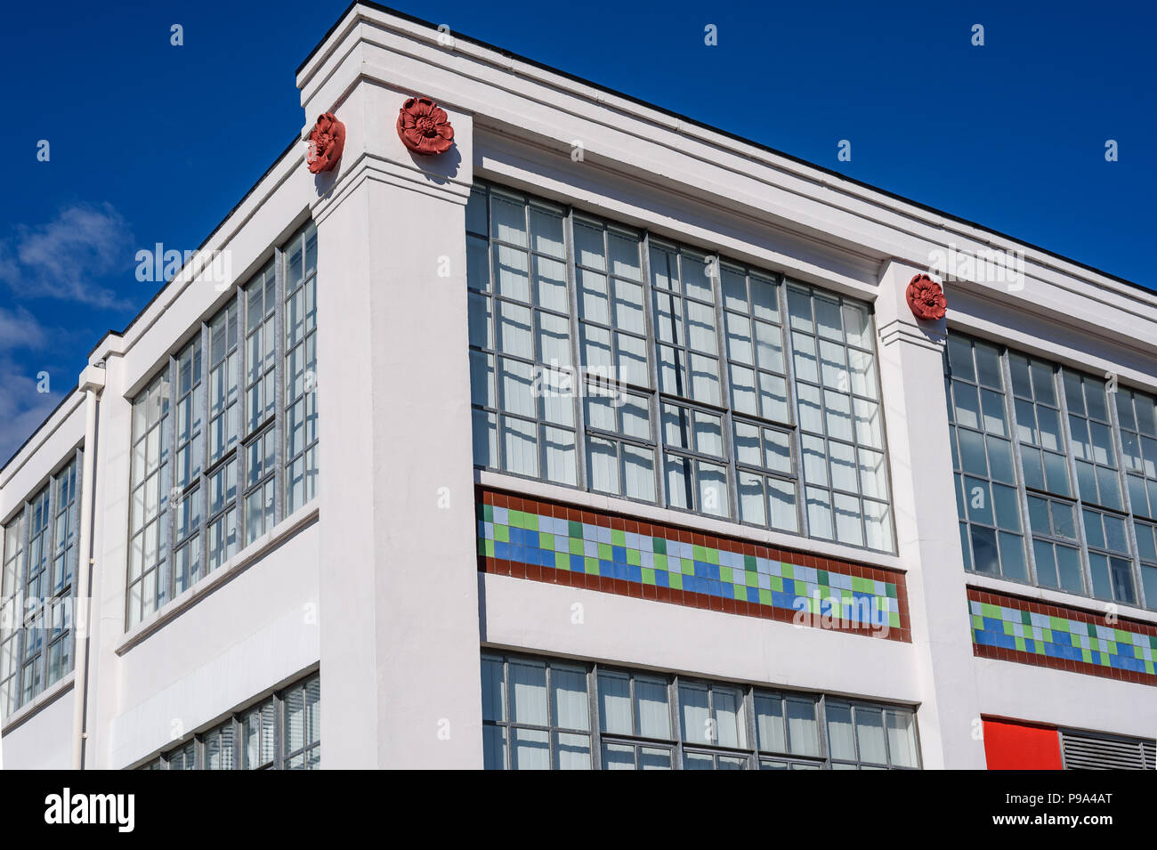 Detail of he Matchworks, a former match factory on Speke Road, Garston, Liverpool, England. The factory was designed by Mewès and Davis in conjunction - Stock Image