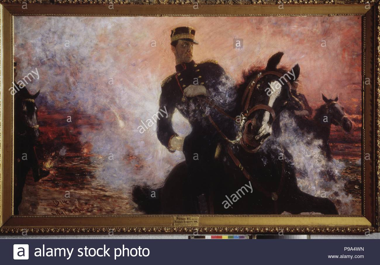 King Albert I of Belgium during the Dam Explosion in 1914. Museum: State Art Museum, Samara. - Stock Image
