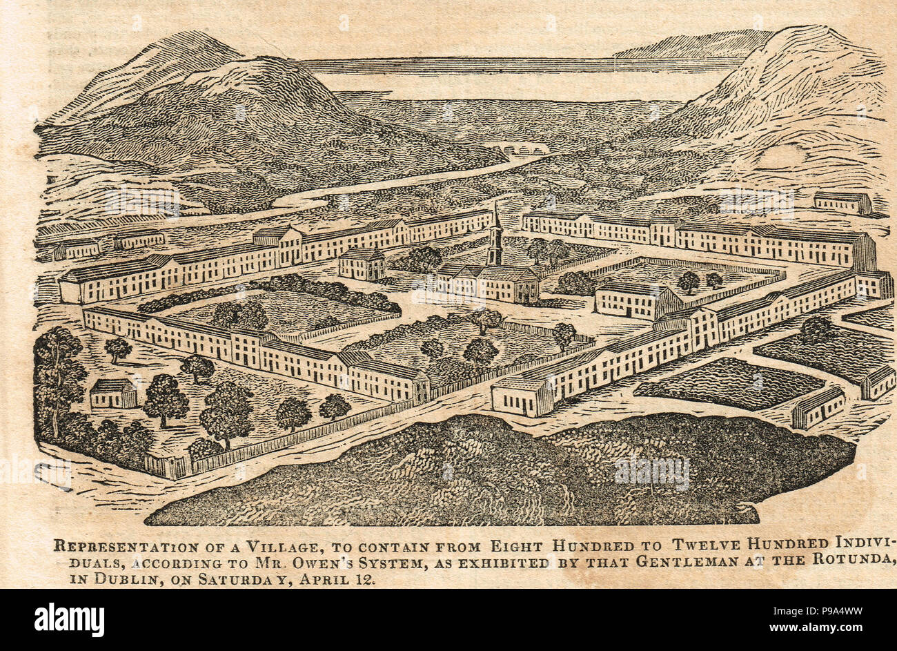 Robert Owen in Ireland, plans for a model village in Ireland, demonstrated at Dublin Rotunda 12 April 1823 Stock Photo