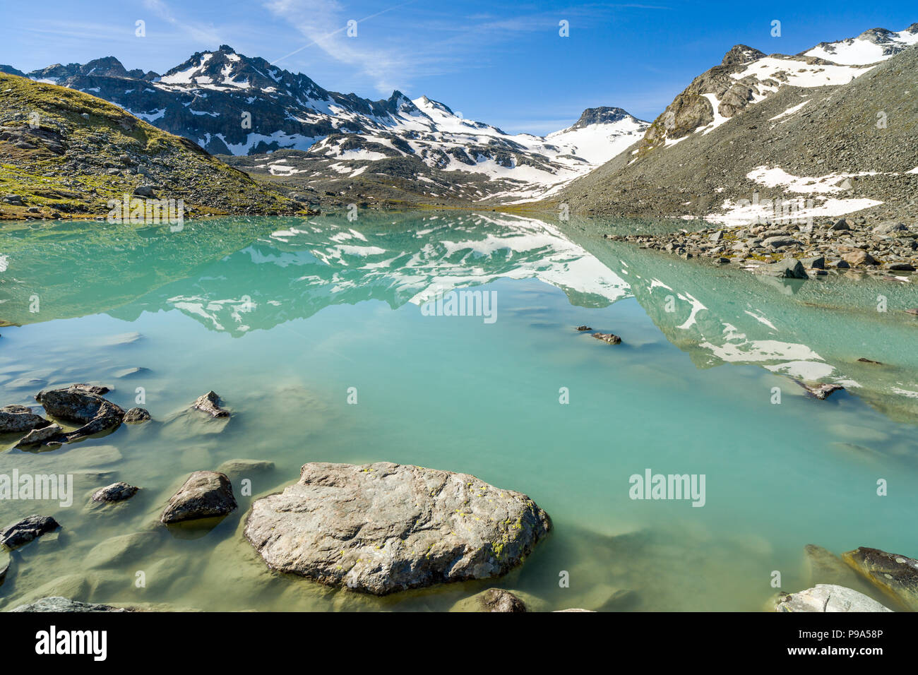 Beautiful lake in the mountains Lac du Grand Désert - Stock Image