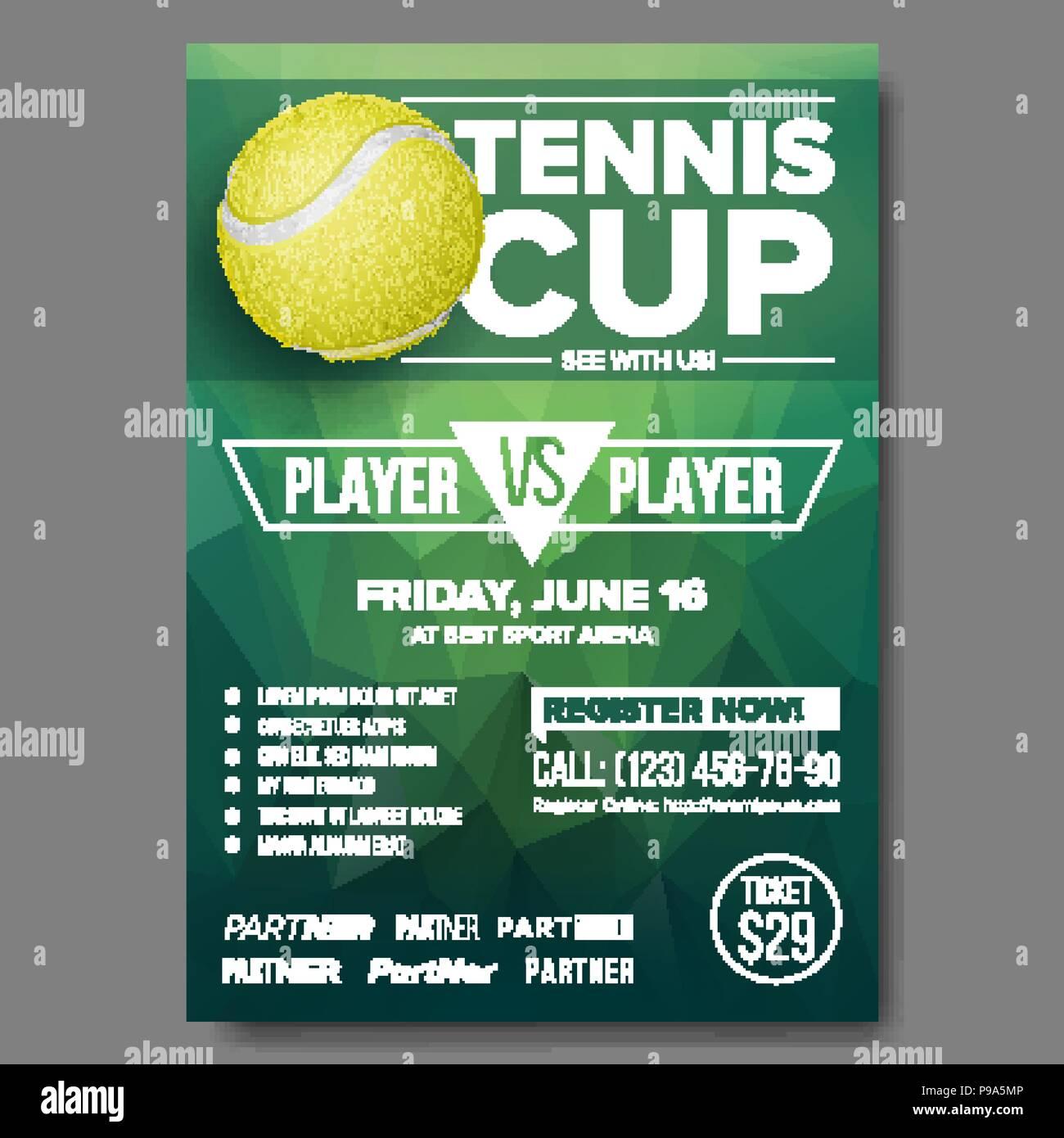 tennis poster vector tennis ball sports event vertical design for sport bar promotion tennis flyer invitation template illustration