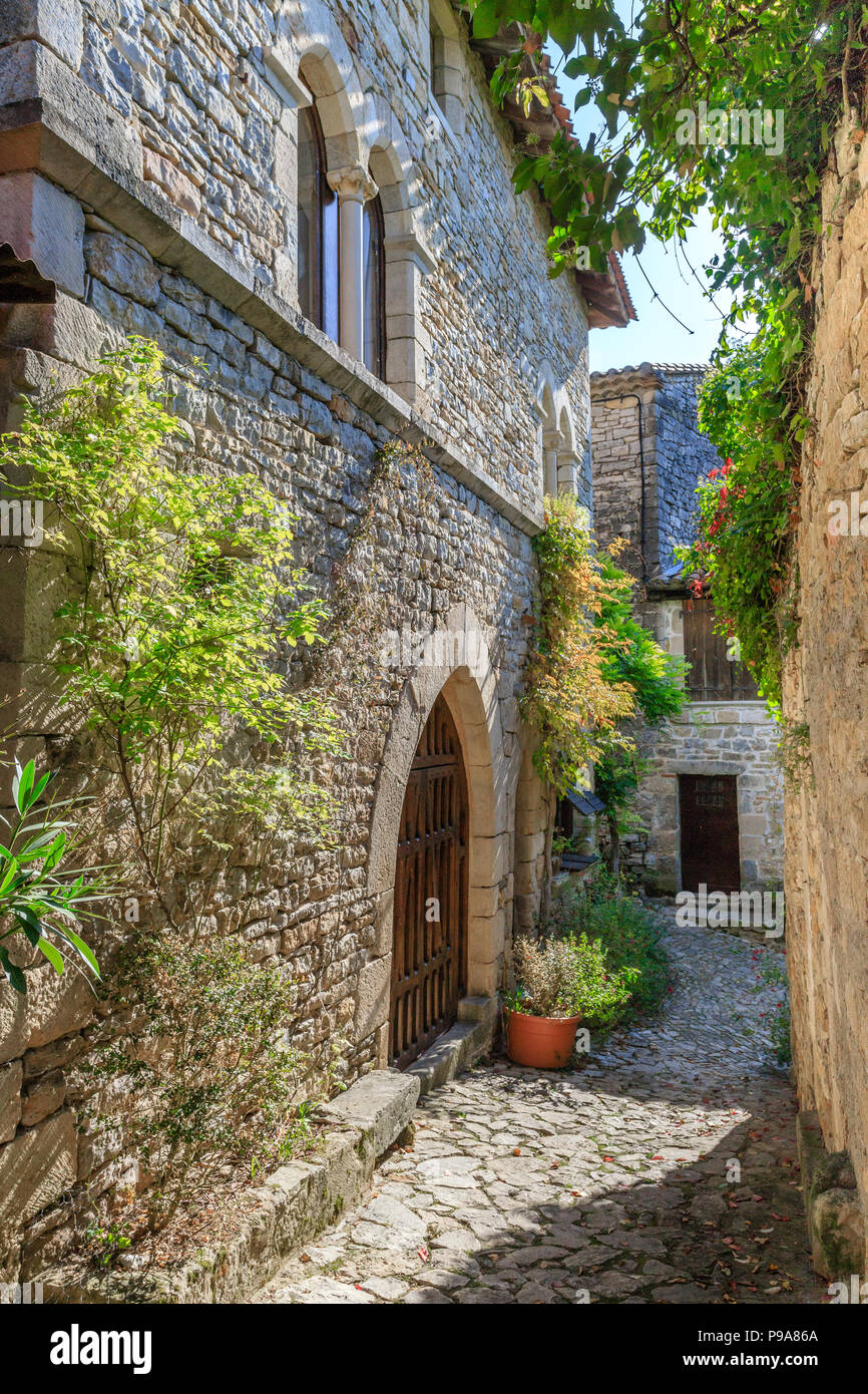 France, Tarn et Garonne, Quercy, Bruniquel, labelled Les Plus Beaux Villages de France (The Most beautiful Villages of France), paved little street in - Stock Image