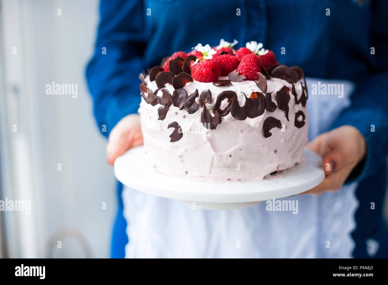 A woman is holding a beautiful cake with pink cream and fresh raspberry berries, decorated with chocolate. Calorie food. Free space for text or postcard - Stock Image