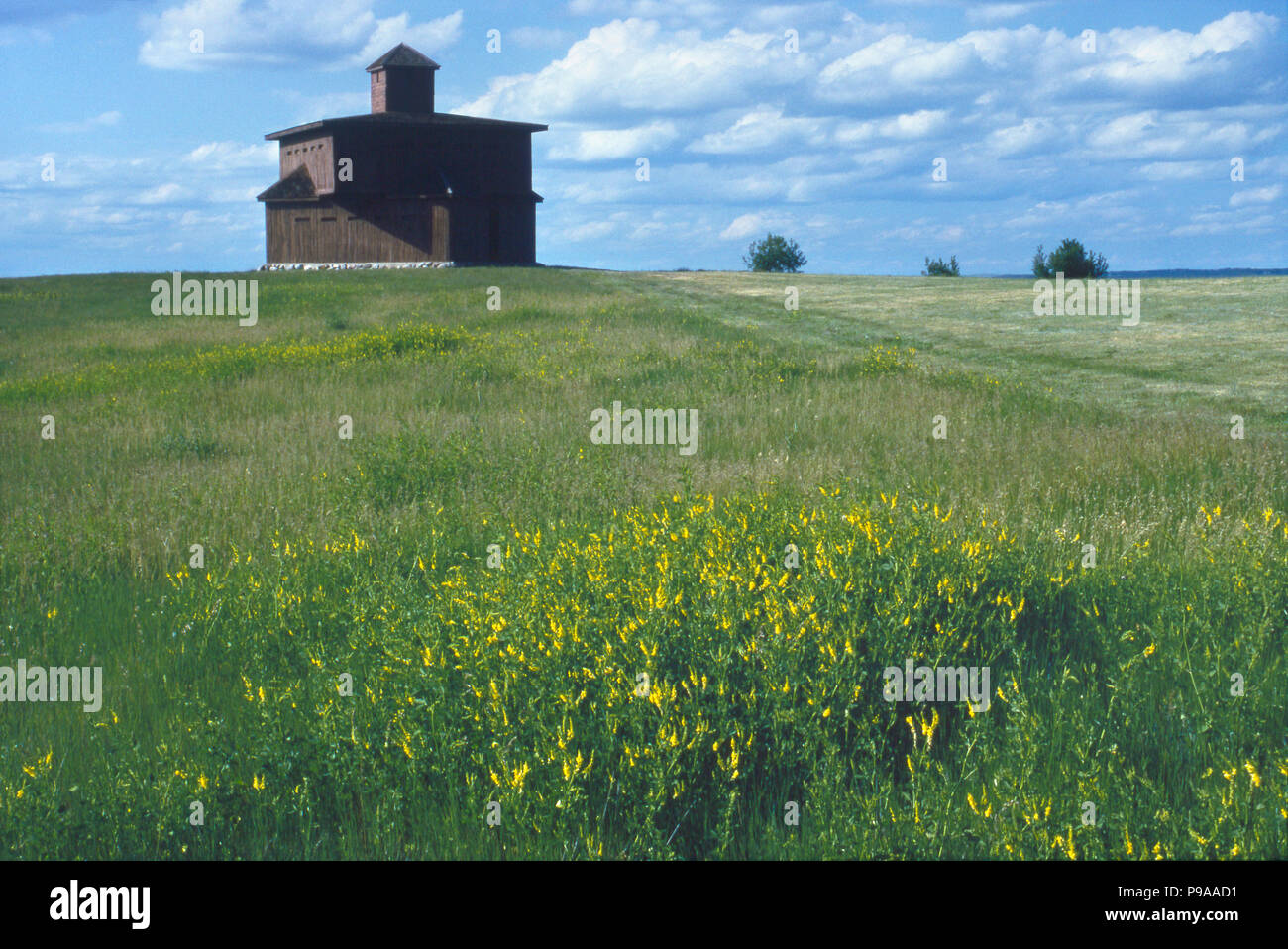 Fort McKeen blockhouse replica, renamed Fort Abraham Lincoln, built during the Indian Wars, North Dakota, 1870s. Photograph - Stock Image