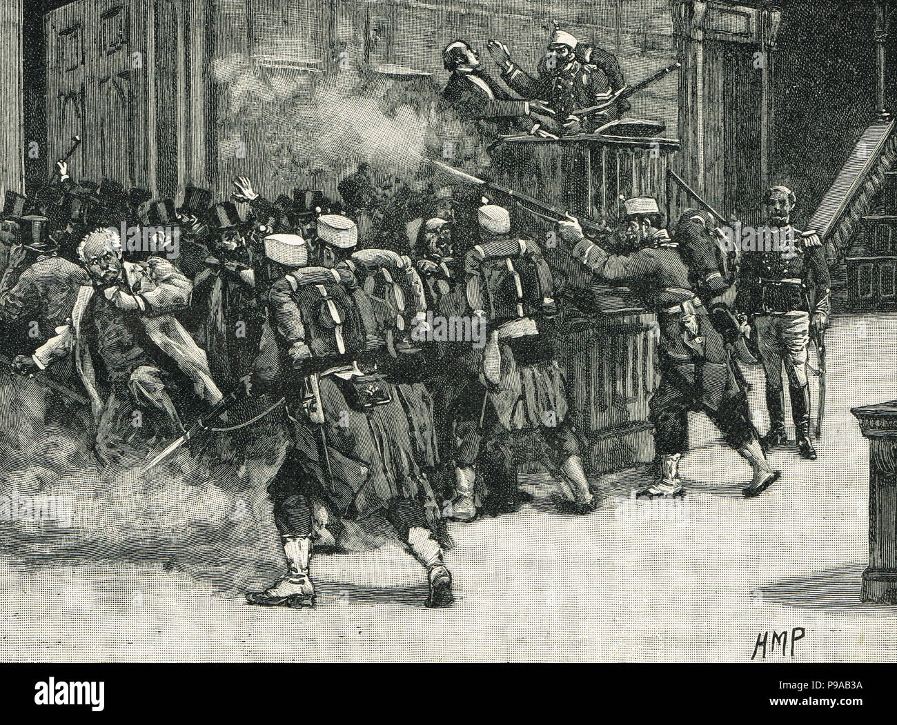 The coup d'etat of Pavia, Spain, 3 January 1874, headed by General Manuel Pavia , Captain General of Castilla la Nueva, dismissing the Cortes - Stock Image