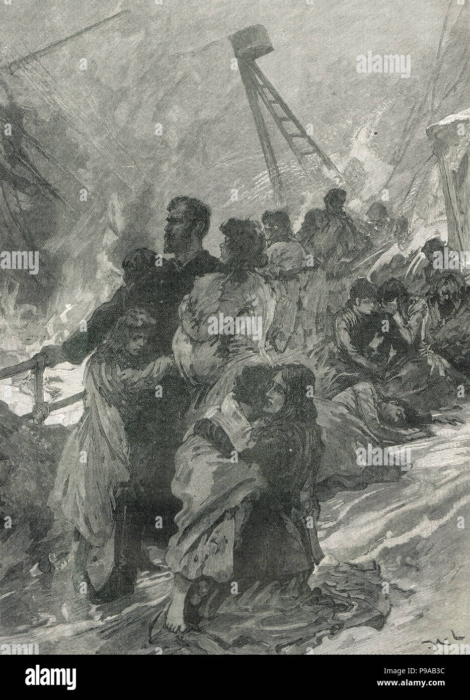 The Foundering of SS Schiller, German ocean liner, in thick sea fog in the English Channel, 7 May 1875 - Stock Image