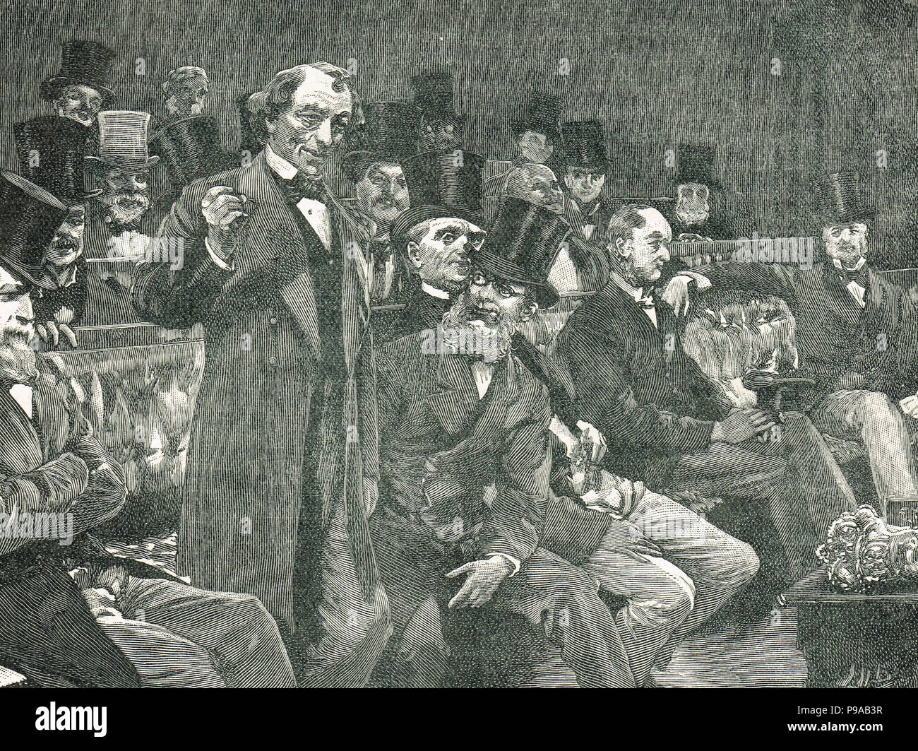 Benjamin Disraeli, relating his story about Dry Champagne, replying to the member for Louth A M Sullivan, during the course of the Irish Coercion bill of 1875 - Stock Image