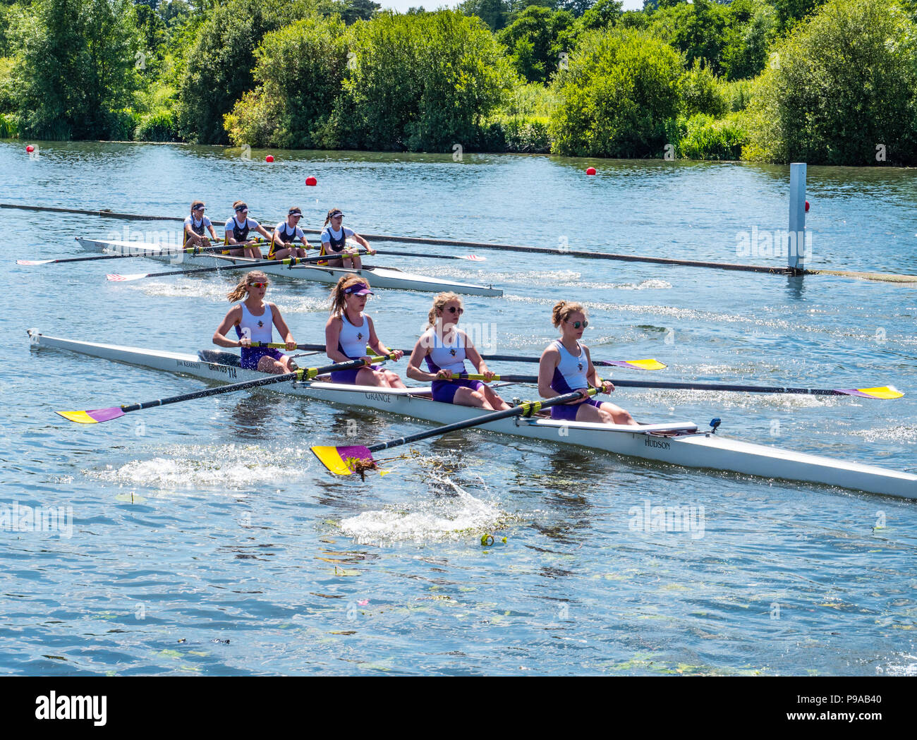 Rowing, Racing, Regatta, Henley-on-Thames, Oxfordshire, England, UK, GB. - Stock Image