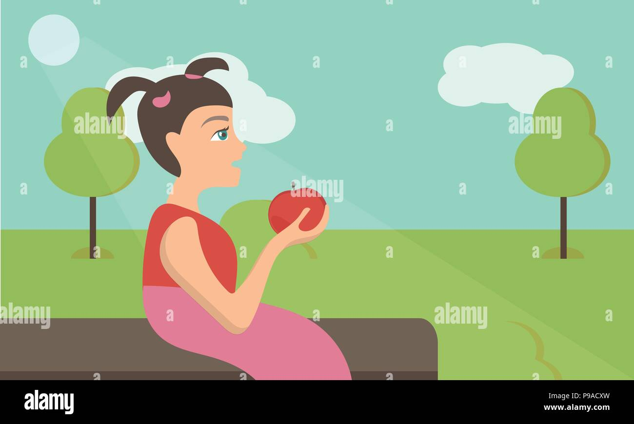 Vector cute little girl with red apple in park - Stock Vector