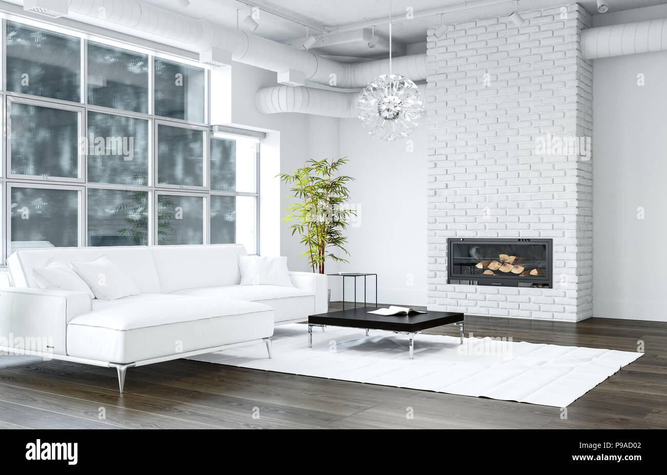 White Living Room With Brick Texture Fireplace Next To Sofa And Black Table Standing On White Rug And Modern Chandelier Hanging From Ceiling 3d Rende Stock Photo Alamy